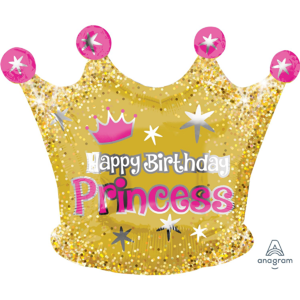Gold Crown Happy Birthday Princess Junior Shape XL Foil Balloon